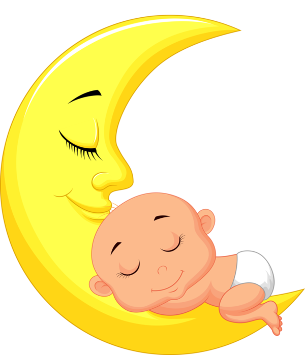 Baby sleeping on crescent moon